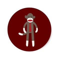 Cute Smiling Sock Monkey with Tie Sticker