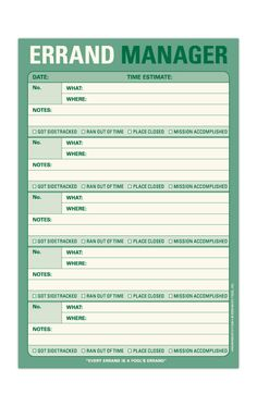Errand Manager List Pad by Knock Knock, Desktop Organizers- I could make a spreadsheet and reorganize it.