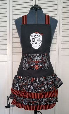 Unique Halloween Apron, Halloween aprons for adults, Day of the dead, aprons with pockets, aprons for women, halloween 2016 by KittyandSpunky on Etsy