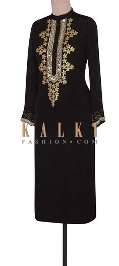 Buy Online from the link below. We ship worldwide (Free Shipping over US$100). Product SKU - 302356. Product Link - http://www.kalkifashion.com/black-suit-adorn-in-mirror-and-gotta-patch-work-only-on-kalki.html