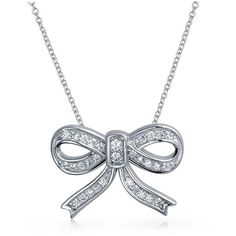 Bling Jewelry Bling Jewelry 925 Sterling Silver Pave Cz Ribbon Bow... ($27) ❤ liked on Polyvore featuring jewelry, necklaces, silver, chain necklace, druzy pendant necklace, shiny charm, sterling silver chain necklace and sterling silver necklace pendant