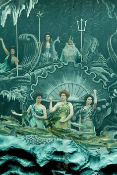 """This is either a still from a silent film by the great George Melies, or a reproduction of same for the film """"Hugo."""" Either way, so charming! Vintage Mermaid, Mermaid Art, Mermaid Paintings, Tattoo Mermaid, Mermaid Tails, Film D'action, Film Stills, Hans Christian, Hugo Cabret"""