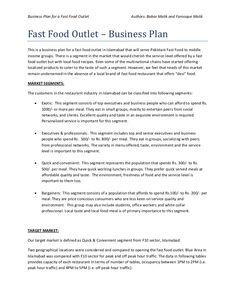 Business plan of fast food restaurant