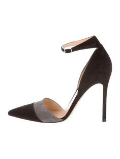 Black and Grey Gianvito Rossi Suede Pointed-Toe Pumps #RealSteal