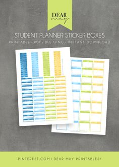 Student Planner Sticker Boxes ⋆ Printable ⋆ School, College & University Planner Stickers ⋆ Back-to-School ⋆ Filofax ⋆ Blue, Green, Yellow