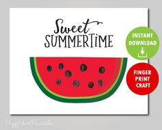 watermelon summer template fingerprint printable finger