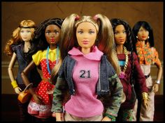 The Prettie Girls! Dolls: Alexie (Caucasian), Kimani (African), Valencia (Hispanic), Dahlia (Middle Eastern), Lena (African American)   The One World Doll Project
