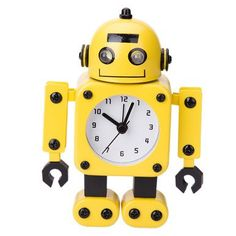 Robot Clock Moveable Bedside Alarm Analogue Clock Flashing Eyes and Sound B
