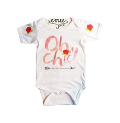 Oh Chic! This cheeky baby girl bodysuit or toddler shirt will compliment any girly girl! Featuring a water colored design with small roses on the