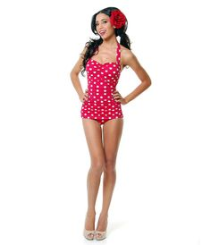 Vintage 1950′s Style Pin up Red with White Polka Dots Swim Suit