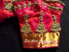 Pls reach us - 9514395293 Hand Work Blouse Design, Simple Blouse Designs, Jhumka Designs, Maggam Work Designs, Gold Bangles Design, Embroidery Designs, Aari Embroidery, Beautiful Blouses, Hand Designs