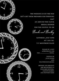 Faces of Time Black Around the Clock Invitation by Noteworthy Collections - Invitation Box