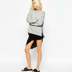 Lace Up grey casual women's Sweatshirt