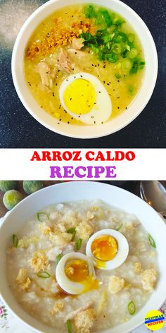 Arroz Caldo is a hearty Filipino congee made with chicken and rice and seasoned with onion, garlic, ginger and fish sauce and topped with crunchy fried garlic.