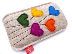 """Handytasche """"Big Hearts"""" (iPhone 5/S4 Mini) von Kuhrinna auf DaWanda.com"""
