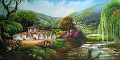 Cuadros Modernos Pinturas : Pinturas de Paisajes Campesinos Colombianos