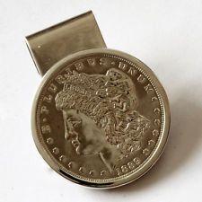 Sterling silver money clip 1889 MORGAN SILVER DOLLAR coin Lot 356