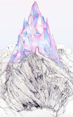 drawing Illustration art paradise pink crystal pastel surreal Abstract feminine katherine tromas