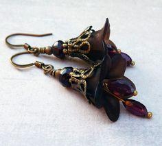 Dangle Earrings Black Flower Garnet January Bith by LunarBelle