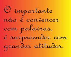O importante não é convencer com palavras, é surpreender com grandes atitudes.