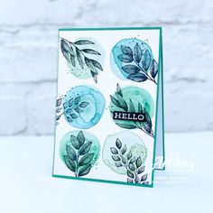 All Star Tutorial Bundle - Forever Greenery Suite - Coastal Crafter Watercolor Circles, Leaf Cards, Colouring Techniques, Fall Cards, Card Making Inspiration, Pretty Cards, Ink Color, All Star, Cardmaking