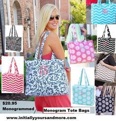 Monogrammed Tote Bag by InitiallyYoursandMor on Etsy