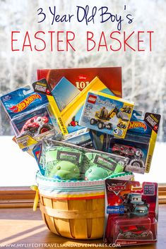 Hoppin easter fun easter basket for boys ages 3 5 years old my life of travels and adventures my 3 year old boys easter basket with no candy negle Choice Image