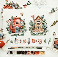 Watercolor Sketchbook, Watercolor Drawing, Watercolor Illustration, Painting & Drawing, Watercolor Paintings, Christmas Drawing, Christmas Art, Illustration Inspiration, Guache