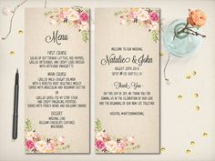 "Wedding Menu with Thank You Card, Floral Elegant Menu, Modern Rustic Boho Menu, Whimsical Kraft Menu, 4""x9"" Double Sided DIY Printable (M14)"
