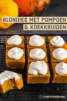 Blondies met pompoen & koekkruiden - FunkyFood by Niki I Love Food, Good Food, Sweet Recipes, Cake Recipes, Easy To Cook Meals, Lime Cheesecake, Happy Foods, Blondies, High Tea