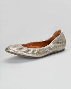6096607012b Lanvin Metallic Leather Ballerina Flat