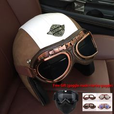 Find More Helmets Information about Women and Men Retro Leather Motorcycle 3/4 Helmet With Goggle Mask Vintage Open Face Moto Helmets With Halley Glasses Dot 8Color,High Quality 3/4 helmet,China moto helmet Suppliers, Cheap helmet with goggles from running with flower on Aliexpress.com