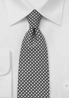 Men\'s Handwoven Tie in Black and Ivory