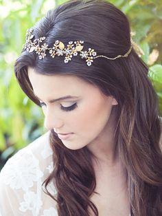 Bridal hair vine beaded flower headband wedding crystal by Elibre, $210.00