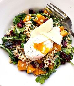 Butternut Squash and Barley Salad with Poached Egg, a weekend brunch must!