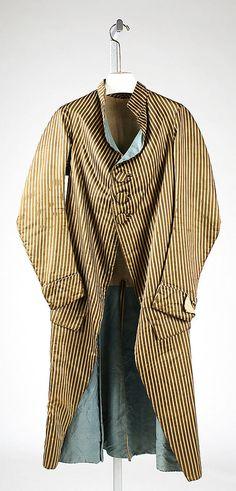 Coat  Date:     1785–90 Culture:     Italian Medium:     silk Dimensions:     Length: 49 in. (124.5 cm) Credit Line:     Rogers Fund, 1926 A... Accession Number:     26.56.21