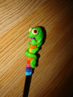 chameleon spoon Fimo Clay, Badge Holders, Spoons, 1, Pencil, Sculpture, Deco, Heart, Animals