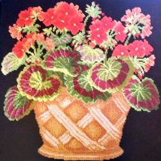 Geranium Pot needlepoint kit from our Flower Pots Series