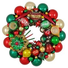 Check out this item at One Kings Lane! Gold, Red, & Green Ornament Wreath