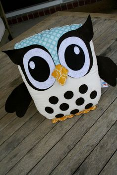 The Kelley- Owl pillow- Felt & Fabric- Large Eyes- Feathers and Hair Flower…