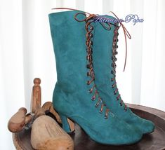 Victorian Boots Ankle Boots in Green  camoscio by VictorianBoots