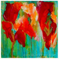 Poppies Abstract Painting Red Mint Turquoise Floral Large Scale Canvas Contemporary Fine Art