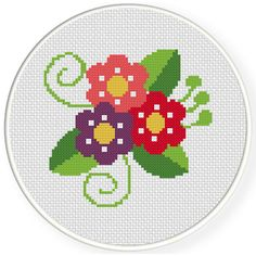 Charts Club Members Only: Pretty Flowers Cross Stitch Pattern