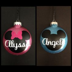 Personalized Minnie Mouse OR Mickey Mouse Ornaments  Looks beautiful hanging from your tree!  These ornaments are a large 4 diameter disc shaped