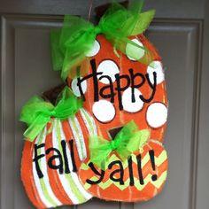 Happy fall y'all pumpkin burlap door hanger