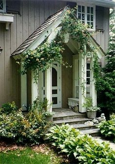 trendy Ideas for stone cottage front door curb appeal Cottage Front Porches, Cottage Front Doors, Small Front Porches, Front Door With Screen, Side Door, House Front, My House, Cottage Exterior, Front Entrances