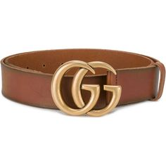 Gucci Double G Buckle Leather Belt (€380) ❤ liked on Polyvore featuring accessories, belts, brown, leather strap belt, gucci belt, vintage belt, gucci and logo belts