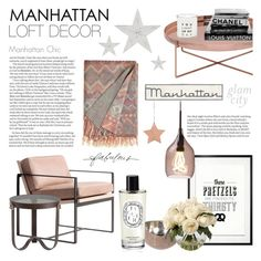 """""""Manhattan Girl"""" by rachaelselina ❤ liked on Polyvore featuring interior, interiors, interior design, home, home decor, interior decorating, ZERO11, Bloomingville, Redford House and Go Jump in the Lake"""
