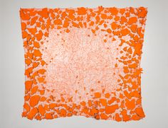 """Sifter by Susie Brandt, 2015. Aloha shirt bits netted in Safety Orange, 96"""" x 96"""". Photo by Dan Meyers."""
