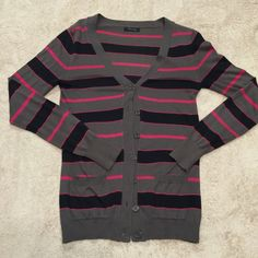 Striped Cardigan Beautiful grey, black & hot pink striped cardigan with two front pockets. *Worn once. Sweaters Cardigans